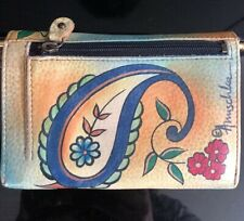 "Anuschka Wallet Leather Paisley Yellow Green 4"" X 5.5"" Signed Hand painted EUC"