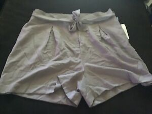 Leith Purple Quail Belted Tie Plus Size 2X Shorts NWT