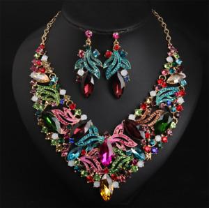 Woman Crystal Choker Chunky Statement Bib Pendant Women Necklace Chain Jewelry