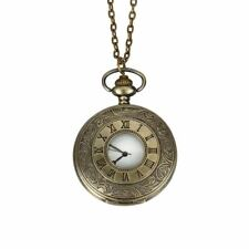 Bronce Antiguo Grabado Reloj de Bolsillo Collar con Colgante