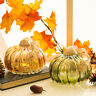 Glitzhome Handcrafted Amber/Green Crackle Glass Pumpkin Fall Harvest Decoration