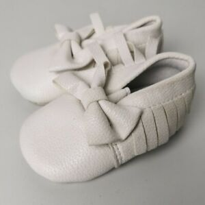 Baby Girls White Leather Bow Shoes 0-6 Months