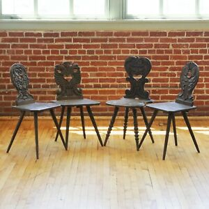 19th Century Black Forest Antique Hand-Carved Wood Board German French Chairs