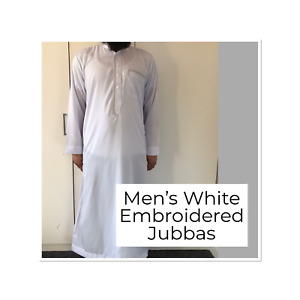 Mens Embroidered White Thobe Jubba   Size 52 - 58   Islamic Clothing