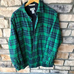 LL Bean Fleece Lined Flannel Shirt Heavy Green Plaid Men's Large