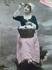 cpa STEBBING femme oeuf paques postcard antique egg easter woman carte AK ostern