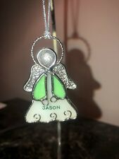 """PERSONALIZED ORNAMENT """"Jason"""" Stained Glass Angel 2.25"""""""