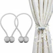 Magnetic Curtain Tiebacks Handmade Drapery Rope  Holder 2 pcs Sliver