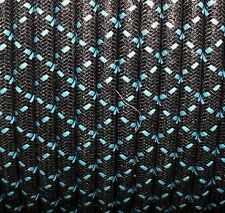 WOVEN BLACK CLOTH W/BLUE TRACERS, MAGNETO SPARK PLUG WIRE 7MM  COPPER CORE