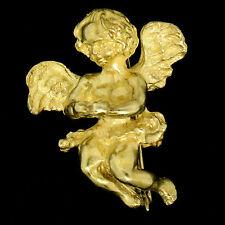 Diseñador Rebecca Koven 18ct Oro Amarillo Con Textura Ángel Querubín Broche