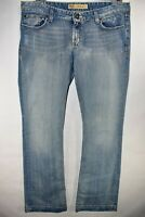 BKE Stella Buckle Bootcut Stretch Womens Jeans Tag 32x33.5 Light Wash Meas 33x34