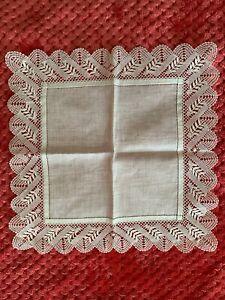 French Antique Handkerchief  - MIRECOURT lace edging on fine linon 19.5cm square
