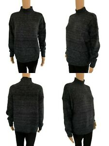 NEW Womens Knitted Jumper Dress Ladies Long Sweater Free Size UK6 8 10 12 14Grey
