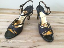 "Vintage Shoes 9N Lord And Taylor Black Strappy gold sandal dance 3.5"" high"