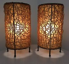 Modern Contemporary Wicker & Wrought Iron Luminary Table Lamps Pair Eames Style
