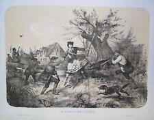 Lithographie originale, La Chasse au lièvre , Victor Adam, milieu du XIXème s.
