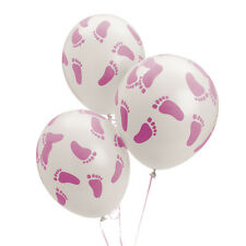 "25 Baby Shower Decorations Latex 11"" BALLOONS pink BABY girl FOOTPRINT Feet"