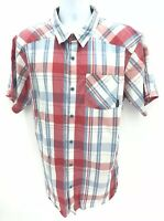 Cloumbia Omni-Wick Short Sleeve Button Up Plaid Shirt Mens XL Regular Red / Blue