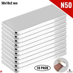 10Pcs Powerful N50 30x10x2mm Rare Earth Neodymium Magnets Rectangular/Bar Fridge