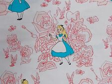 Alice in Wonderland Fabric Pink Golden Afternoon Disney Camelot Quilting Cotton