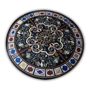 "48"" Black round Marble table Pietra dura Inlay art Handmade Work"