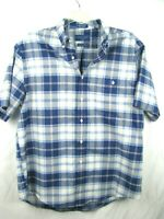 Towncraft Men's Blue/White Shirt Button Down Short Sleeve Plaid Wrinkle Free L