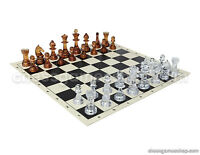 "Transparent Chess Set - Chess Board Black/White 17,3"" + Special Chessmen 3,75"""