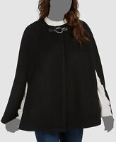 $290 Ralph Lauren Women Black Draped-Sleeve Open-Front Wool Cape Coat Jacket S/M