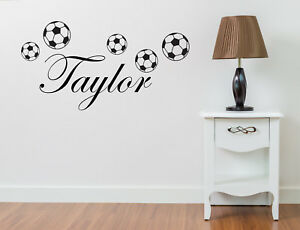 PERSONALISED NAME FOOTBALL WALL ART STICKER QUOTE DECAL BOYS CHILDRENS DECOR DIY