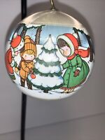 1978 Hallmark Joan Walsh Anglund Ball Ornament Christmas Friends Satin 1974