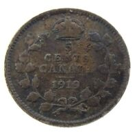 1919 Canada 5 Cents Small Silver Circulated Canadian George V Coin N250