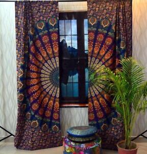 Indian Peacock Mandala Curtains Hippie Window Curtain Bohemian Door Drape Panel