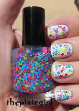 Bright Neon Glitter Indie Nail Polish Top Coat Lacquer Handmade 15mL Full Size