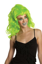 Womens Neon Green Wig Fluorescent Wavy Curly Long Hair Celebrity Rave Party NEW