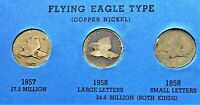 1857, 1858 LARGE LETTER, & 1858 SMALL LETTER FLYING EAGLE CENTS, PENNY, COIN #6
