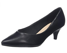 Evans Fran Womens UK 7 EEE Extra Wide Fit Black Pointed Toe Mid Heel Court Shoes