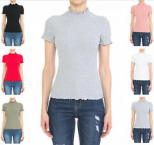Women's Ribbed Lettuce Mock Neck Short Sleeve Cotton Jersey Top