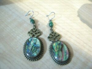 NICE BRASSY TONE WIRE N TRIM CASING WITH ABALONE SHELL EARRINGS-4LEAFERS ON BACK
