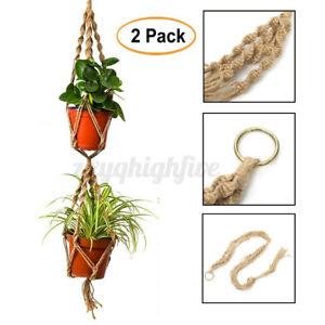 2 Pack Macrame Plant Hanger Garden Planter Basket Hanging Rope Flower Pot Holder