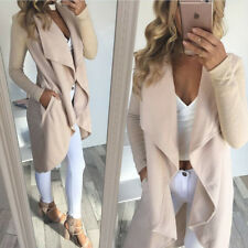 UK Women Ladies Long Sleeve Waterfall Cardigan Coat Open Front Jackets Size 6-16
