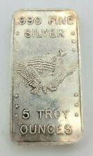 Vintage 1981 US Assay Office San Francisco 5 Troy OZ .999 Fine Silver Bar  #1927