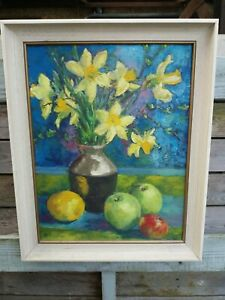 Vintage oil On Board Still Life Daffodils And Fruit