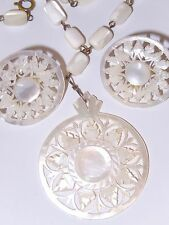 Mother of Pearl Necklace Earrings Hand Carved Beads Openwork Circle Medallion