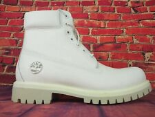 Mens Timberland 6 Inch Premium A1JSB White Leather Lace Up Boots
