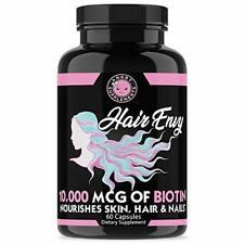 Angry Supplements Women Hair Envy Biotin + Keratin 10,000 MCG All Natural 60 Ct