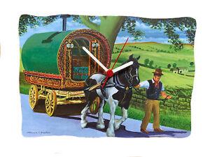 Romany Gypsy Caravan Clock - Gypsy Horse Gift - Appleby -Bow Top Caravan N6-C