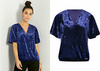 M & Co Womens Crushed Velvet Indigo Blue Wrap Short Sleeve Party Top Blouse
