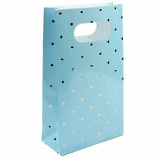 Blue Gold Foil Polka Dot Party Bags 6pk Baby Shower Lolly Treat Gift Favour Boy