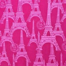pink on hot pink Eiffel Tower Paris France retro cotton quilting fabric 1/2 YARD