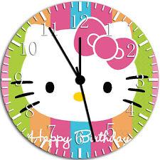 Hello Kitty Birthday Frameless Borderless Wall Clock Nice For Gifts or Decor W36
